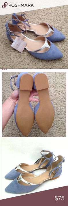 Zara pastel blue pointy flats with ankle straps New in box Zara Shoes Flats & Loafers
