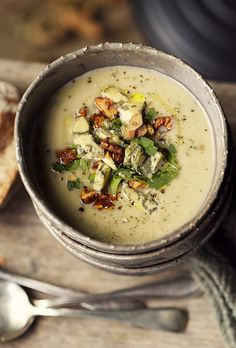Cauliflower, Pear and Bleu Cheese Soup