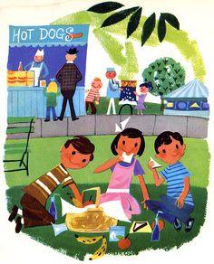 """Billy's Neighbors,"" 1957 school book illustrated by Janet LaSalle, Follett Publishing Company Children's Book Illustration, Character Illustration, Retro Illustrations, Illustration Styles, Creepy Kids, Scary, Lowbrow Art, Little Golden Books, Vintage Children's Books"
