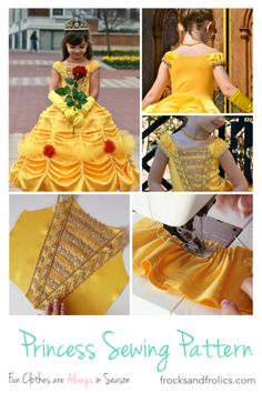 Ideas For Party Dress Pattern Disney Princess Princess Dress Patterns, Disney Princess Dresses, Princess Costumes, Disney Princesses, Little Girl Dresses, Girls Dresses, Belle Costume, Fairytale Dress, Kids Outfits