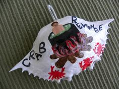 "Man in pot ""Crabs Revenge"" painted crab shell ornament by Karenscrabs on Etsy"