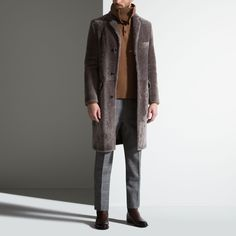 LAMB SHEARLING CHESTERFIELD COAT - GREY 16 LAMB Coats