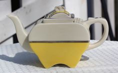 Art Deco Fraunfelter China Yellow and White by TheCuriousSquirrels