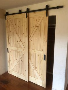 Single Track Bypass © Barn Door Hardware Kit with Track allows two doors to hang and bypass/overlap on one track! (NOTE: doors are . House, Home, Garage Doors, Double Doors, Barn, Garage Door Design, Garage Door Types, Doors, Bypass Barn Door Hardware