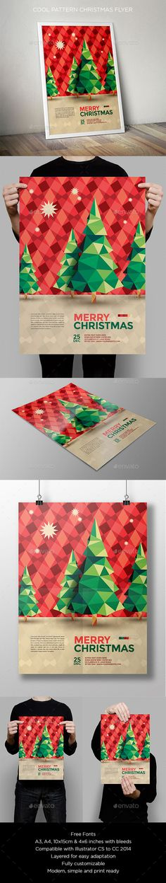 Cool Pattern Christmas Flyer - Holidays Events More - Graphic Hit Web Design, Flyer Design, Layout Design, Creative Design, Design Art, Print Design, Ode An Die Freude, Christmas Flyer Template, Plakat Design
