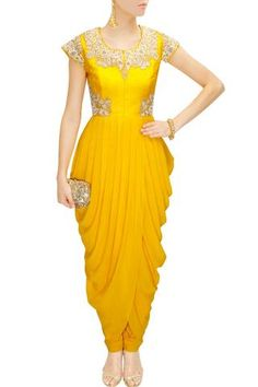 This yellow cowl drapped kurta is featuring with cowl overlap hem and zari, resham embroidered raw silk bodice with cap sleeves. This yellow cowl overlap kurta comes along with matching yellow lycra churidaar. Dress Indian Style, Indian Dresses, Indian Wear, Indian Outfits, African Fashion, Indian Fashion, Salwar Kameez, Dhoti Saree, Patiala