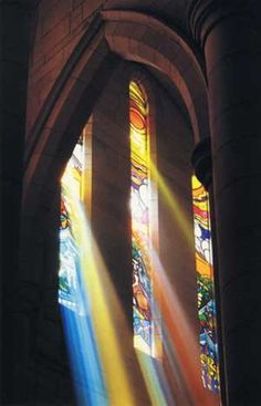 shadows through stained glass | Window stained glass refracting glorious light in St John's Cathedral ...