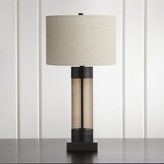 Avenue Bronze Table Lamp with USB Port | Crate and Barrel