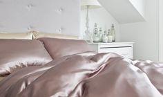 Luxury Silk Bed Linen Sets Super King in Dusky Pink Beige Bed Linen, Bed Linen Sets, Best Bedding Sets, Luxury Bedding Sets, Comforter Sets, Modern Bedding, Luxury Bed Linens, Beautiful Bedding Sets, Luxury Bed Sheets
