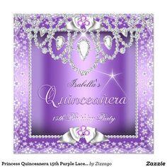 Princess Quinceanera 15th Purple Lace Diamond Invitation