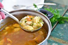 Fitt fazék kultúrblog : Zöldborsó leves glutén- és tojásmentes nokedlivel. Vegan.