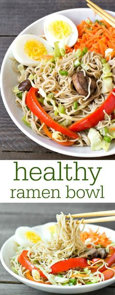 This healthy ramen bowl recipe is a delicious, hearty vegetarian meal full of nutritious ingredients. Lots of flavors and textures in one bowl! Recipe from http://realfoodrealdeals.com