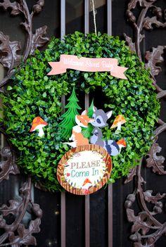 woodland party woodland baby showerfox wreath forest