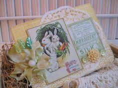Shabby chic easter bunnies handmade card