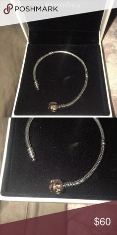 """Pandora bracelet rose gold clasp size 17cm 6.7"""" Like new! Never worn because it does not fit me.   :( Absolutely beautiful bracelet. Sterling silver. This bracelet will fit someone who is very petite or small. Even a pre-teen or teen girl whose wrist circumference is less than 6"""". The bracelet itself measures 6.7"""" which is 17cm and considered size small by pandora. Pandora Jewelry Bracelets"""