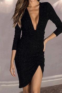 Sexy Deep V Long Sleeve Sequins Bodycon Dress db13395cd