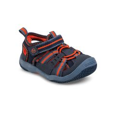 Stride Rite Baby Riff Water Sandal in Navy/Orange. #striderite #babyriff #watersandal #babyboyssandal #sandals #boys #baby #shoes #navy