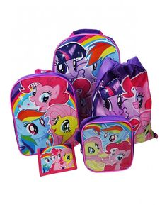 This My Little Pony 5 Piece Luggage Set includes a trolley bag, backpack, purse, shoulder bag and drawstring bag for one great price! Free UK delivery available