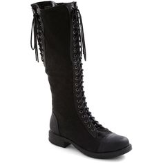 Tied for First Place Boot ($60) ❤ liked on Polyvore featuring shoes, boots, black, flat boots, modcloth, knee-high boots, black knee boots, knee boots, knee-high lace-up boots and flat knee high lace up boots