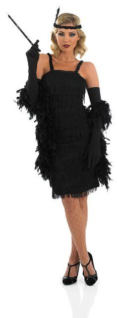 Roarin 20's Black Flapper Dress Ladies Fancy Dress Costume