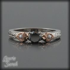 AWESOME!!!!  Black Diamond and Pearl Engagement Ring in 14kt White and Rose Gold - LS1946. $1,230.00, via Etsy.