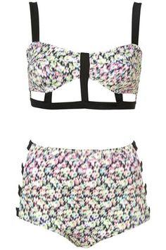 Blurry Floral Cage Bikini