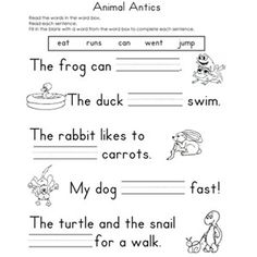 12 FREE Printable Fill-in-the-Blank Reading Worksheets: Animal Antics (via Parents.com)