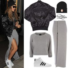 Rihanna in cropped top sweatshirt and maxi skirt