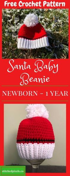 Use this free crochet pattern to make your own Santa Baby Hat in 3 sizes from newborn to 1 year old.