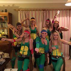 Cool homemade ninja turtles costume for a group of girls halloween teenage mutant ninja turtles fancy dress costume heroes in a half shell turtle power solutioingenieria Image collections