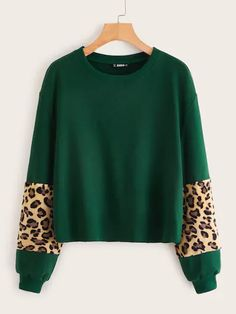Plus Leopard Teddy Panel Sweatshirt Check out this Plus Leopard Teddy Panel Sweatshirt on Shein and explore more to meet your fashion needs! Girl Fashion, Fashion Outfits, Fashion Black, Fashion Ideas, T Shirts For Women, Clothes For Women, Lingerie Sleepwear, Spandex Material, Types Of Sleeves