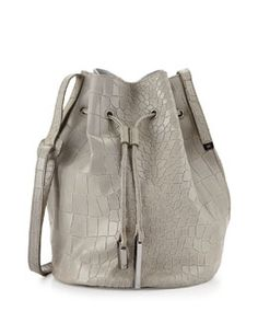 V2C4R Halston Heritage City Casual Croc-Embossed Bucket Bag, Heather Gray