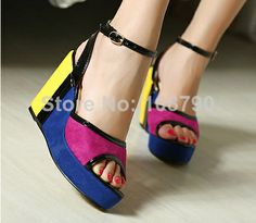 2014 New Fashion Summer Shoes Ankle Strap Women's Platform Wedges Sandals High Heels Shoes Woman Footwear Female Size 35-39 $32.98