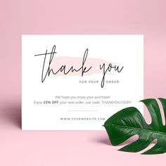 business thank you cards EDITABLE Thank You Card Insert Template! This template is very easy to edit and is fully customizable. Edit in MS Word, Photoshop or Adobe Illustra Thank You Customers, Thank You For Order, Thank You For Purchasing, Customer Thank You Note, Business Thank You Notes, Small Business Cards, Printable Thank You Cards, Thank You Card Template, Card Templates