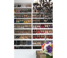 DIY Shoe Closet from a bookcase @Luuux - I DON'T HAVE ANY WHERE NEAR THIS MANY SHOES, BUT I STILL WANT THIS SHOE CLOSET.