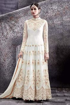 560e44b00b161 Net Anarkali Suit In Cream Colour Product Code   SM00502286 Price   Rs4