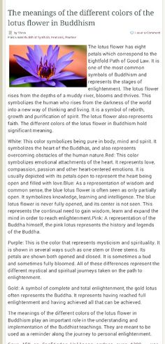 Lotus Flower color meanings