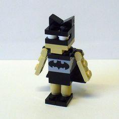 Custom LEGO Miniland Boy in Bat man costume. $25.00, via Etsy.