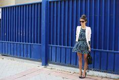 Blue dress and light pink blazer