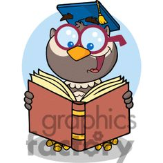 Animals Reading Books | ... With-Graduate-Cap-Reading-A-Book Clip Art Image, Picture Art # 382323