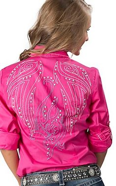 Cruel Girl® Ladies Hot Pink with Embroidery Long Sleeve Western Cowgirl Snap Shirt | Cavender's
