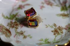 SWAROVSKI RED CRYSTAL Square , Gold tone,Clip on, Spring backing Earrings, Signed, Vintage by FrancieLouiseJelly on Etsy