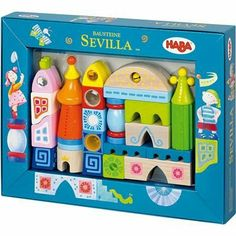 Building Blocks Sevilla by Haba Toys USA. $62.99. From the Manufacturer                25 pieces in this block set including rattle, bell, mirror, magnifier, peephole, and prism.  All made of Beech Wood.                                    Product Description                Haba Building Blocks Sevilla. Save 10%!
