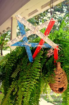 Vintage Folding Ruler Star Wood Star Red White Blue Star Patriotic Shabby Chic Star