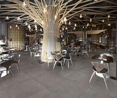 Tiles Tool by Margres Grey Floor Tiles, Grey Flooring, Stone Flooring, Tree Interior, Retail Interior, Interior Design Classes, Office Interior Design, Luxury Restaurant, Restaurant Interior Design