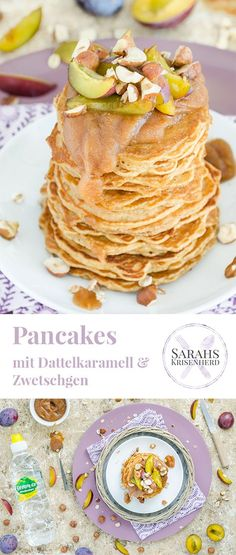 Pancakes mit Dattelkaramell & Zwetschgen #werbung #volvic #ad #sponsored