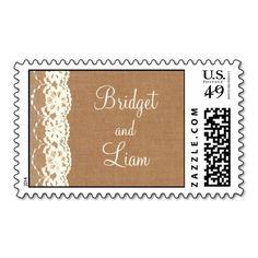 Vintage Ivory Lace & Medium Burlap Wedding Stamp
