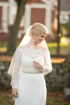 Classic & elegant off the shoulder lace wedding dress | Amberlee Christey Photography