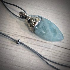 AQUAMARINE  Pendant Necklace, Silver, Leather Pendant, Quality and Precious Stone, Gemstone Necklace, Aquamarine Crystal jewelry, Birthstone by GingerandFoxy on Etsy Silver Pendant Necklace, Leather Necklace, Gemstone Necklace, Coachella, Aquamarine Pendant, Ibiza Fashion, Deer Skin, Vogue, Crystal Jewelry