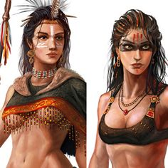 female characters concept, George Vostrikov on ArtStation at https://www.artstation.com/artwork/Z3dPm